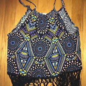 LA hearts patterned fringe top